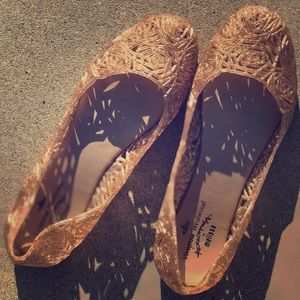 Shoes - Rose Gold Sparkly Gelly Flats